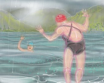 greetings card: 'Swimming with Mother' - art card, open water swimming, wild swimming, ice swimming