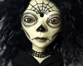 Day Of The Dead Female Doll Clay Handmade OOAK Art Doll - The Morbid Dollhouse