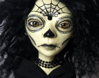 Day Of The Dead Female Doll Clay Handmade OOAK Art Doll - The Morbid Dollhouse