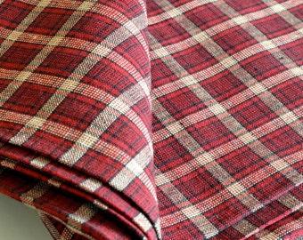 Vintage Plaid Fabric Woven 100% Cotton Red Black Plaid Wonderful Quality by the yard