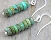 Turquoise Earrings 925 Sterling Silver Dainty Stacked Earring Turquoise Jewelry Southwestern Jewelry Dangle Earrings Bohemian Jewelry