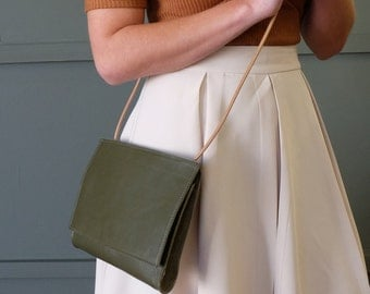 Leather Crossbody Purse, Leather Clutch Purse in Olive Green Leather and Suede Interior: The ADELAIDE in OLIVE by Awl Snap
