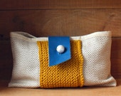 Linen leather knit clutch purse mustard yellow royal blue natural ecru linen bag memake handmade fashion accessory