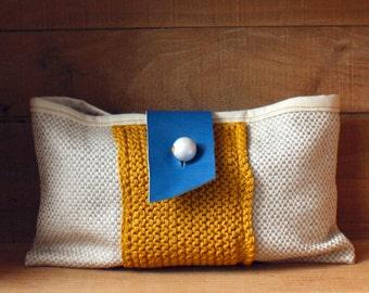 Linen leather knit clutch purse mustard yellow royal blue natural ecru linen bag memake handmade fashion accessory