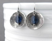 Sapphire Earrings Blue Crystal Earrings Silver Drop Earrings Bohemian Jewelry Silver Jewelry Valentines Day Gift Idea for Her - Contrast