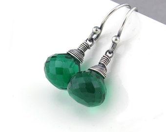 Green Drop Earrings Silver Earrings Dangle Emerald Earrings Gemstone Jewelry Rustic Jewelry Mother's Day Gift for Her - Petite Drops