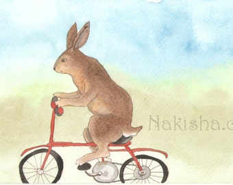 Original Art - Brown Bunny on a Bike - Watercolor Rabbit Painting