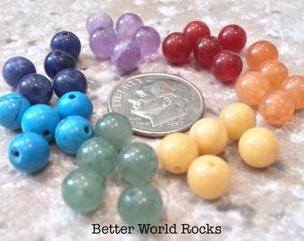 35 pc. 6mm Chakra Beads, Chakra Stones, Chakra Healing, Rainbow Beads, Genuine Healing stones, Yoga Jewelry, ADDITIONAL SIZES TOO