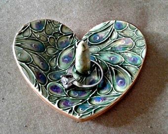 Ceramic Ring Holder bowl Moss green gold edged engagement ring holder
