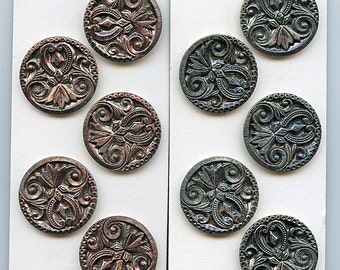 """Matching Set CHOICE RED or BLUE  (5) Antique Victorian Metal Buttons Design Original Tint 1 1/4"""" inch 1795"""