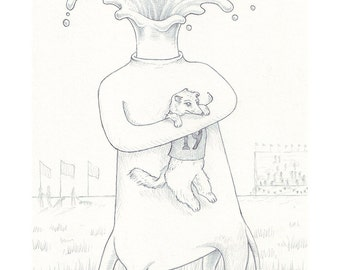 Exquisite Corpse #13 | Art Print | Drawing by Marie Gardeski and David Birkey
