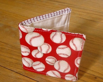 Boy's Wallet, Slim cotton wallet, Kid's Wallet with Baseballs, Vegan