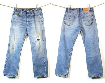 Levi's 505 Jeans / Vintage 1980s Levi's Distressed Denim / 34 x 30