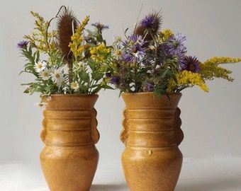 Vintage Pottery Vases, Set of 2, Mustard Yellow Rustic Primitive or Farmhouse Decor