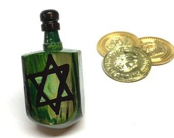 Star of David Dreidel - Green and Black Dreidel for Hanukkah Gift - Draydel Game - Chanukkah Party Favor - Hanukkah Decorations