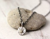Rustic Gold and Stamped Silver Sun Small Pendant Necklace