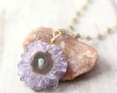 Amethyst Stalactite and Labradorite Gold Necklace