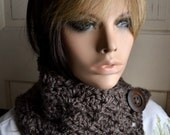 Button Scarf Neck Warmer Cowl in Mushroom Taupe
