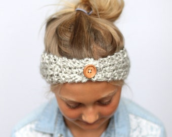 Hand Knit Girl Ear Warmer Headband with Wooden Button in Grey