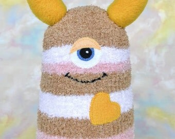 Handmade Sock Monster Doll, Plush Stuffed Art Toy, Hug Me Monster, Personalized Tag, Pink, Golden Yellow, Tan, White 10 inch, Ready-made