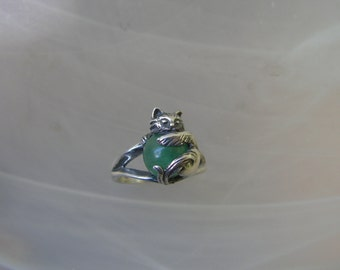 Cat Ring Sterling Silver With Aventurine