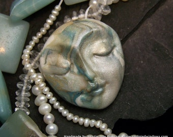 Swirls of Pearl Face Cabochon OOAK Hand Painted Polymer Clay Cab for beading, art dolls, collage, and more