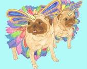 Unicorn Pugs Art Print, Girls Room Decor, Watercolor Illustration, Girls Room Wall Art,Pug Lover,Dog Wall Art,Hipster Print,Funny Animal Art