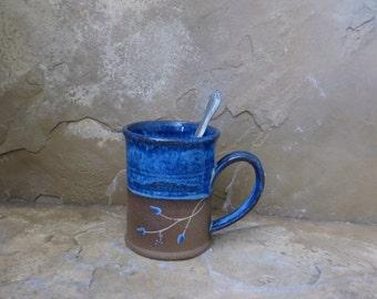 Mug Cup - Handmade Stoneware Ceramic Pottery - Indigo Blue - Vines - 12 ounce