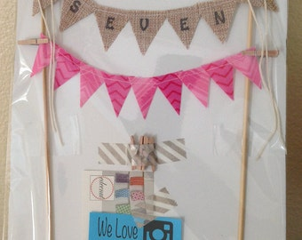 Custom name banner, Fabric Mini Bunting, Pennant flags, Birthday cake top, cake smash topper, wedding cake top, princess cake top, boy cake