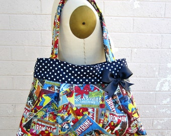 Large Marvel Comic Handbag, Marvel Comic Purse, Marvels Diaper Bag Purse-Ready to Ship