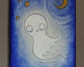 Miniature Whimsical Ghost halloween painting