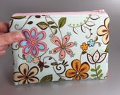 Whimsy - Zippered Pouch - Makeup Bag - Pencil Case - Zippered Purse - Zippered Case - Flowers - Blue - Green - Pink - Vines - Orange - Brown