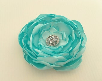 Aqua Flower Hair Clip.tiffany flower.Brooch.Pin.Headpiece.Bridesmaid.Aqua Satin Flower.aqua blue.hair accessory.hair piece.Aqua Blue Flower.