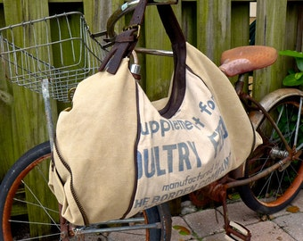 SALE Borden Co New York Poultry Feed - OOAK Vintage Seed Feed Flour Sack Canvas & LeatherSmall Shoulder Bag ... Selina Vaughan Studios
