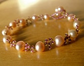 Pink Freshwater pearl wire woven Cancer Awareness Bracelet - 100% donation