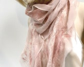 Felt Earthtones Scarf - Fast Ship nude colors sheer cashmere-soft nuno merino silk fiber art