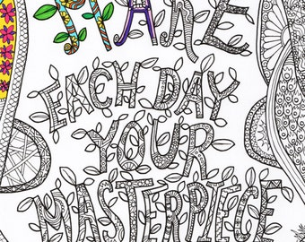 Printable Adult Colouring Quote Relaxing Art