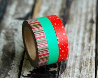 Christmas Washi Tape Set . 3 Rolls . Skinny Washi Tape . Thin Washi Tape . Red Green Washi Tape . Christmas Gift Wrap . Card Making Supplies