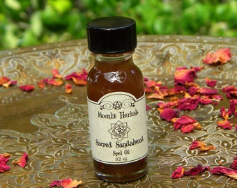 Sacred Sandalwood Spell Oil - Moon Magick, Peace, Tranquility, House Blessing, Manifesting, Meditation, Harmony, Sacred Space, Pagan, Wicca