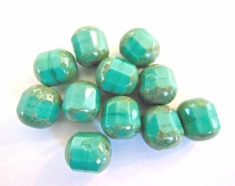 Czech cathedral beads (10) glass pressed  turquoise Picasso two tone  opaque glass blue 10mm (10)