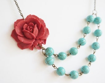 Turquoise Necklace,Statement Necklace,Bridesmaid Jewelry Set,Bridesmaid Gift,Maroon Flower Necklace,Maroon Necklace,Turquoise Jewelry,Gift
