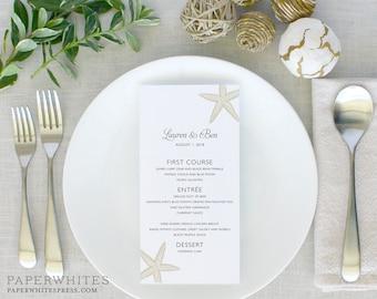 Beach Wedding Menus, Starfish Wedding Menus, Printed Wedding Menus
