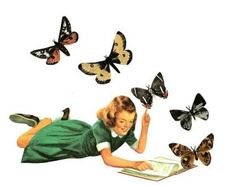 Original Mixed Media Collage Art on Paper Butterfly Wall Art Nature Book Art Reader Reading Book Artwork