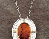 Montana agate 22k gold and sterling silver statement necklace