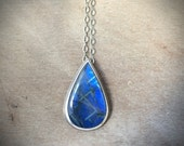 Stunning Labradorite necklace - spectrolite necklace - unique necklace - blue stone necklace - teardrop