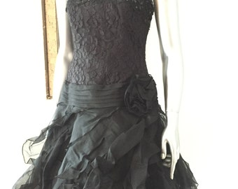 Black Lace and Tulle Beaded Silk Tadashi Party Dress