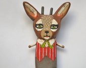 Original Hand-Painted Anthropomorphic Deer Christmas Wooden Sculpture Folk Art Ornament OOAK