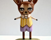 Folk Art Deer Anhropomophic Hand-Painted Wood Sculpture Original Handmade OOAK