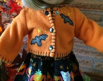 18 Inch Doll clothes - Orange Fleece Bat Jacket - For Halloween