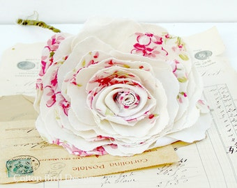 2nd Anniversary Cotton Rose Fabric Flower Home Decor Floral display  - Made to order